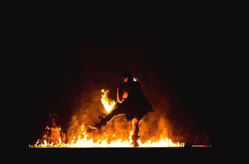 tribal fire dancer