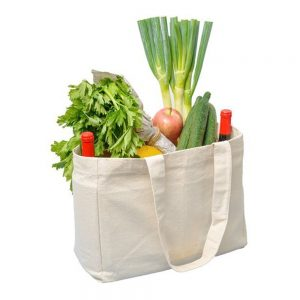Canvas bag filled to the brim with vegetables!
