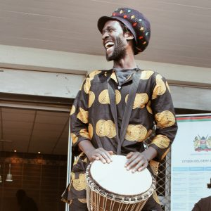 Kenyan drummer playing traditional music